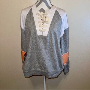 UO Out from Under Coral Gray Lace Up Sweatshirt M